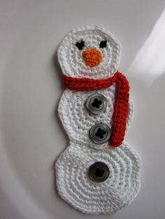 Crochet Snowman Applique by slappytheseal on Etsy