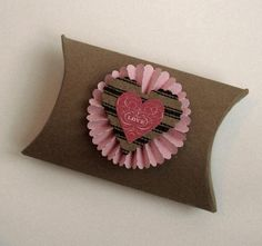 5 Valentine Pillow Boxes  Treat  Favor  Rosette  Heart by Pedoozle