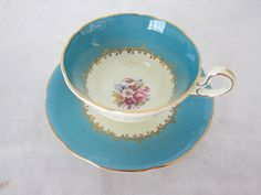 Antique AYNSLEY Teacup and Saucer Signed by ThePassionateFlea