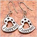 Awesome Tibetan Silver Heart Shaped I Love You Earrings #6369   $5.95