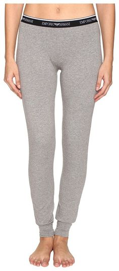 Emporio Armani Visibility Stretch Pants with Cuffs (Dark Grey Melange) Women's Underwear - Emporio Armani, Visibility Stretch Pants with Cuffs, 163620, Apparel Bottom Underwear, Underwear, Bottom, Apparel, Clothes Clothing, Gift, - Fashion Ideas To Inspire