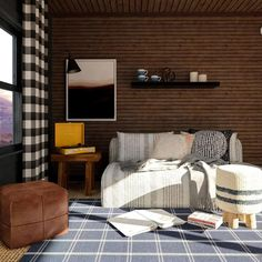 Love the Cabincore aesthetic? Try on the look in your home! Here are 5 ways to give your home a cabin-inspired look. Modern Mountain Home, A Frame Cabin, Tufted Ottoman, Ship Lap Walls, 5 Ways, Living Rooms, House Design, Rustic, Interior Design