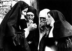 TROWBRIDGE - Dirty Habit - With all the charm of black and white photography and a pinch of added humour, four actresses dressed as nuns can. Old Photos, Vintage Photos, Silly Photos, Vintage Photographs, William Stafford, Bad Habits, Photomontage, One Kings Lane, Black And White Photography