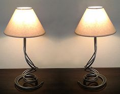 A small collection of wrought iron lamps with natural fabric lampshades. Lampshades, Wrought Iron, Table Lamp, Behance, Lighting, Gallery, Check, Home Decor, Lamp Shades