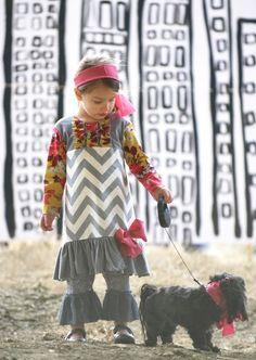 Chevron Ruffle Dress
