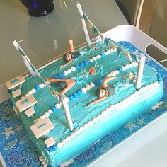 """OP: """"I made this cake for my swim team a few weeks ago, but I forgot to post it"""" Swim Team Party, Swim Birthday Parties, Swim Team Mom, Swim Mom, Ocean Birthday Cakes, 13 Birthday Cake, Swimmer Cake, Computer Cake, Buttercream Cake Designs"""