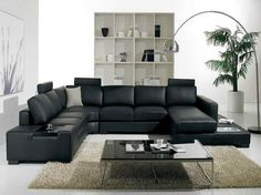 Cozy Black Leather Sofas For Elegant Living Room : Elegant Black Leather  Sectional Sofa Design Integrated With Small Coffee Table For Stylish Look  Living ...