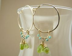 would love these in silver - peridot, turquoise and 14k gold filled earrings