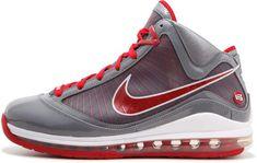 ffc863eb9fb Nike Air Max Lebron 7 TB Cool Grey  Varsity Red