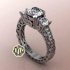 #engagementring #sayyes #idos #love #commitment #diamonds #3stonering #whitegold #whitediamonds #luxury #fancy #marriage #perfection #gorgeous #custommade