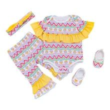 0bc33098fc5 Newborn baby girl Easter eggs ruffle romper outfits set