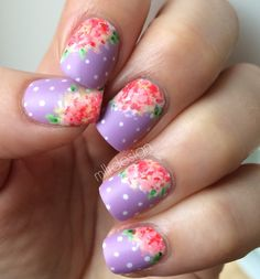 Vintage flowers on dots ~ using Essie 'Bond with whomever' as base with white dots on and then acrylic paint for the flowers and a Matte top coat. ~ by Mllr Design