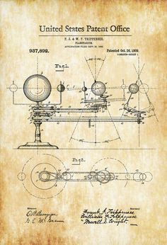 Planetarium Patent 1909 - Patent Print Wall Decor Outer Space Planets Stars Astronomy Solar System by PatentsAsPrints
