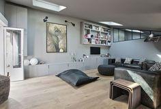 Home vanves a single storey of 170 refurbished - side home. Custom Woodworking, City Style, Corner Desk, Interior Decorating, Living Room, Table, Furniture, Home Decor, Grey Stuff