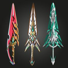 3 blades by LittleMaxGaming on DeviantArt Fantasy Character Design, Character Design Inspiration, Character Art, Fantasy Sword, Fantasy Weapons, Armor Concept, Weapon Concept Art, Armas Ninja, Xenoblade Chronicles 2