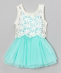 Blue & Ivory Pleat Dress & Lace Tank
