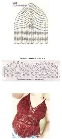 Top con flecos de crochet patrón                              … Débardeurs Au Crochet, Crochet Chart, Crochet Stitches, Crochet Patterns, Crochet Coin Purse, Crochet Bikini Top, Bralette Crop Top, Crochet Fashion, Top Pattern