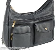 LOCKING CONCEALED CARRY GUN PURSE LEATHER CONCEALMENT PURSE PISTOL