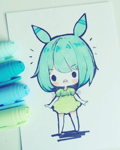 doodle while waiting for friend TwT I was ready to leave but they said they're going to be late welp. #bicmarkers #doodle #chibi