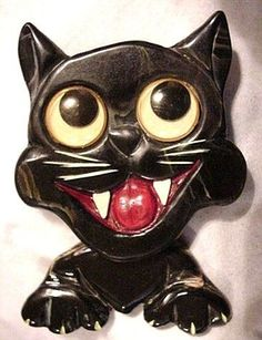 Cats in Art, Illustration, Photography, Design and Decorative Arts: Bakelite Automated Comical Cat Pin Cat Jewelry, Art Deco Jewelry, Animal Jewelry, Jewellery, Vintage Accessories, Vintage Jewelry, Cat Pin, Plastic Jewelry, Vintage Cat