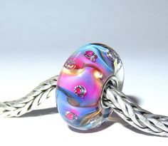 Luccicare Lampwork Bead - Fantasy Diamonds IV -  Lined with Sterling Silver by Luccicare on Etsy