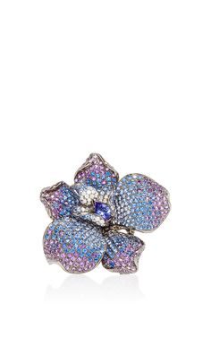 Tanzanite And Blue Sapphire Flower Ring by WENDY YUE Now Available on Moda Operandi