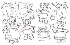 Bonecas de Papel: Para colorir...