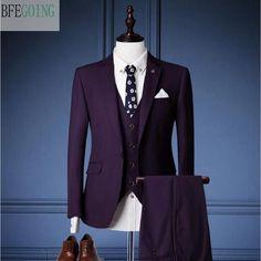 Purple Regular Bridegroom Tuxedos Single Breasted Groom Suit+ Vest +Pants + For Wedding /Evening Party Men's Tuxedo Wedding, Groom Wedding Dress, Wedding Suits, Purple Shirt Outfits, Prince Suit, Tailor Made Suits, Wedding Dresses Men Indian, Purple Suits, Designer Suits For Men
