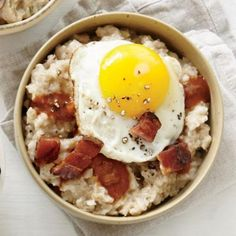 Pancetta, Fried Egg, and Red-Eye Gravy Oatmeal—because savory oatmeal is just as delicious as sweet | CookingLight.com