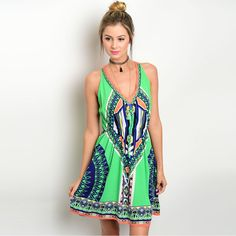 Shop the Trends Women's Sleeveless Woven Dress with Allover Multicolored Tribal Print and V-Neckline