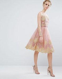 Chi Chi London Premium Lace Midi Skirt with Premium Metallic Embroidery