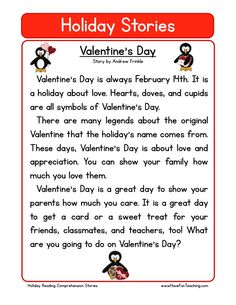 This Reading Comprehension Worksheet - Valentine's Day is for teaching reading comprehension. Use this reading comprehension story to teach reading comprehension.