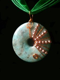 Wire Wrapped Amazonite Donut EMF/Health Pendant by PerfectWaters, $60.00
