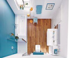 salle de bain avec une peinture murale blanche et bleue, parquet et sanitaire blanc