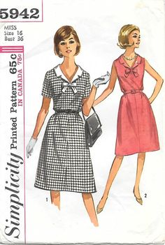 Simplicity 5942 1960s V Neck Sleeveless by GrandmaMadeWithLove