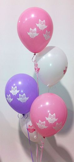 Owl Latex Balloons. Pink, White, Lilac 10pk : Party Supplies Cake Supplies Lets Celebrate Parties