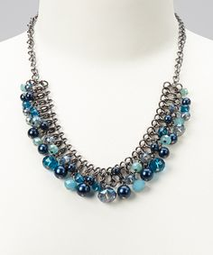 Take a look at this Blue Cluster Bead Statement Necklace on zulily today!