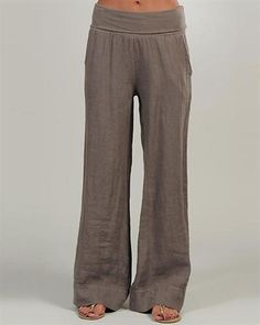 Lin Nature Solid Color 100% Linen Pants Made in Italy