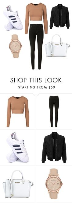 """casual shopping day"" by momo116 ❤ liked on Polyvore featuring J Brand, adidas, LE3NO, MICHAEL Michael Kors and Burberry"