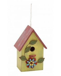Pine Wood Birdhouse Garden Decor With Painted Flowers - Clever beam style trims, a thatched roof and a welcome sign, this birdhouse is nothing short of a fairy tale charm. Made from hardwood pine, it is insect repelling and weather resistant. The rugged contours and textures will provide bird with a natural nest and you with several years of bird watching. A complete eco friendly product.