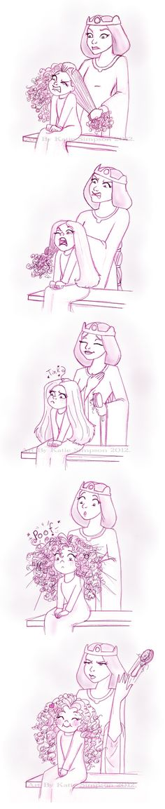 "POOF by Redhead-K.deviantart.com on @deviantART - Queen Elinor tries to do little Merida's hair. Characters from ""Brave"""