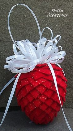 Fabric or Paper Pinecone Ornaments purchased several years ago on EBAY.  Treasure them!
