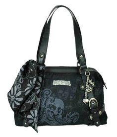 Harley-Davidson Women's Skull Jacquard Classique Purse W/ Scarf SJ2127J-Black #HarleyDavidson #ShoulderBag-Have it!!!