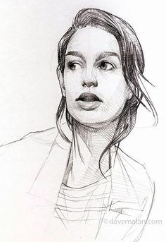 David (Dave) Malan, female portrait drawing, 2015. davemalan.com