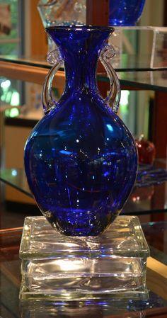 Cobalt Blue Vase by Blenko Glass Blenko Glass, Fenton Glass, Glass Vase, Bleu Cobalt, Blue Dishes, Im Blue, Glas Art, Cobalt Glass, Crystal Glassware