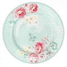 GreenGate Stoneware Plate Lulu Mint D 20,5 cm | Autumn/Winter 2013 | Originated-Webshop