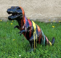Fibreglass Sculpture - Painted Tyrannosaurus - Martin Klein - Check out our shop and convince yourself of our wide range. Sculptures for Sale - Conte… Sculpture Painting, Bronze Sculpture, Contemporary Sculpture, Contemporary Art, Abstract Art For Sale, Art Stand, Shops, Sculptures For Sale, Tyrannosaurus