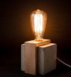 Industrial concrete table wood lamp, Industrial lamp, Desk lamp, Edison lamp…