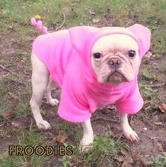 French Bulldog Boston Terrier Pug Dog Froodies Hoodies Halloween Costume Pink Little Piggy Pig Fleece Jacket Sweatshirt Coat
