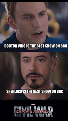 WELL, I KNOW WHICH SIDE I'M ON NOW.  GO CAPTAIN!!!!! Civil War: Sherlock vs. Doctor Who |